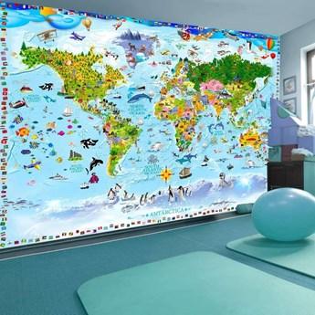 Fototapeta - Mapa świata dla dzieci