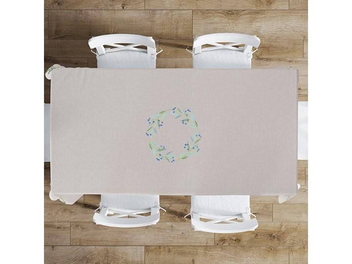 Obrus beżowy VENEZIA beżowy 140 x 220 cm Poliester Prostokątny Plamoodporny Wzór Kwiaty
