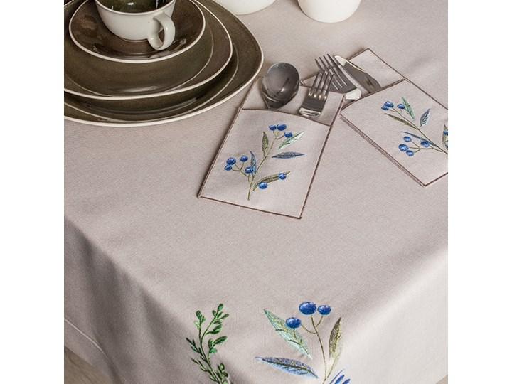 Obrus beżowy VENEZIA beżowy 140 x 220 cm Wzór Kwiaty Plamoodporny Poliester Prostokątny Wymiary 140x220 cm