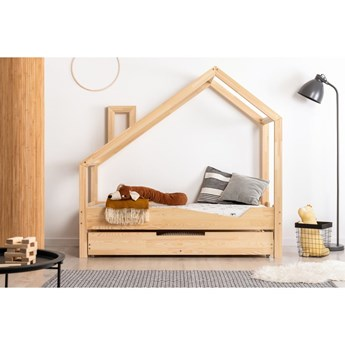 Łóżko w kształcie domku z drewna sosnowego Adeko Luna Adra, 90x140 cm