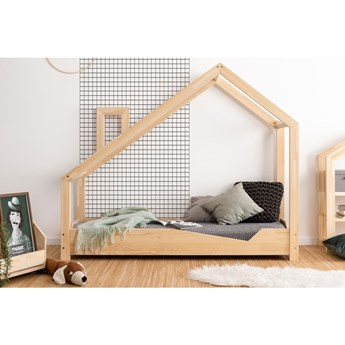 Łóżko w kształcie domku z drewna sosnowego Adeko Luna Adra, 100x180 cm
