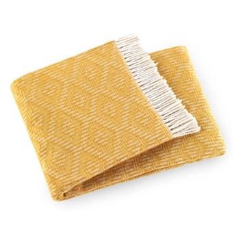Żółty pled z domieszką bawełny Euromant Aisha, 140x160 cm