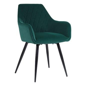 Welurowe krzesło z podłokietnikami CARBO 2 zielone z czarnymi nogami