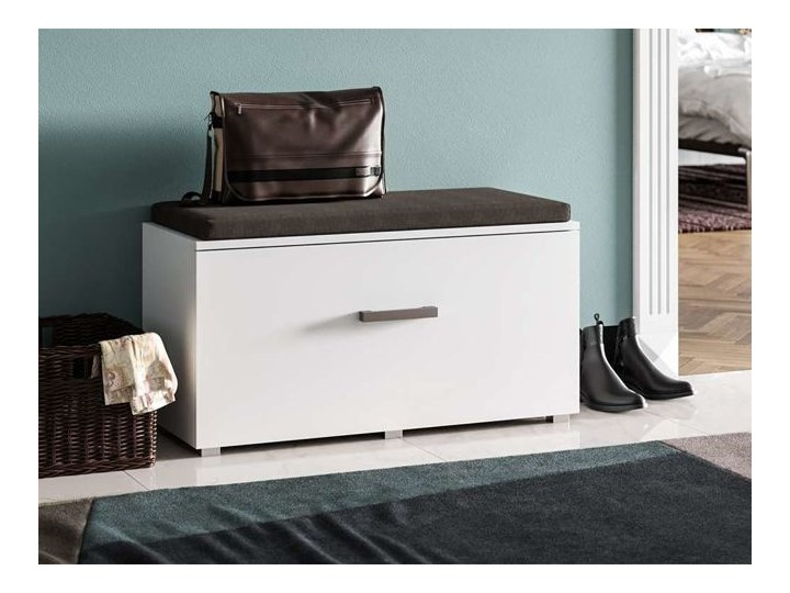Designerska szafka na buty z siedziskiem Adon - biała Kolor Biały Drewno Kategoria Szafki i regały