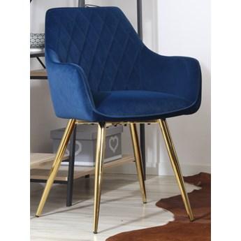 Welurowe krzesło z podłokietnikami CARBO 2 granatowe ze złotymi nogami