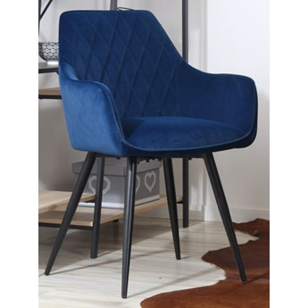 Welurowe krzesło z podłokietnikami CARBO 2 granatowe z czarnymi nogami