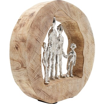 Figurka dekoracyjna Family In Log 30x29 cm naturalna
