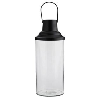 Szklany lampion Madam Stoltz BLACK czarny rozmiar L