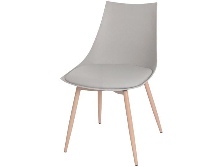 Krzesło z poduszką do kuchni jadalni SARA - szare Skóra Kategoria Krzesła kuchenne Tworzywo sztuczne Metal Stal Krzesło inspirowane Drewno Pomieszczenie Salon