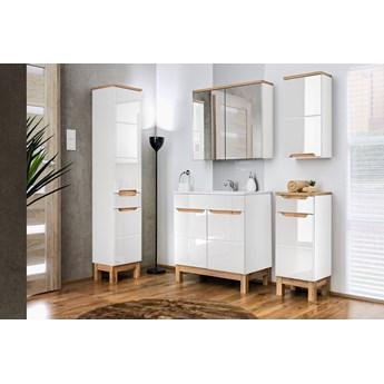 Komplet mebli łazienkowych biały połysk z umywalką