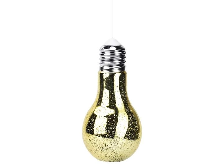 Lampion dekoracyjny szklany ŻARÓWKA ZŁOTA 18,5 cm
