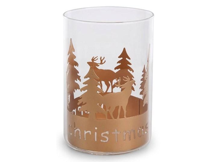 Świecznik świąteczny szklany CHOINKA I RENIFER 15 cm