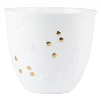 świecznik porcelanowy zimowy Ostrokrzew duży 13cm RAEDER