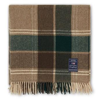 Pled wełniany Lexington Holiday Checked Herringbone Recycled Wool Beige/Green