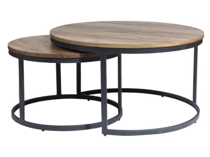 Zestaw dwóch stolików ALMA orzech vintage na czarnym stelażu Płyta MDF Wysokość 45 cm Zestaw stolików Wysokość 40 cm Stal Kategoria Stoliki i ławy