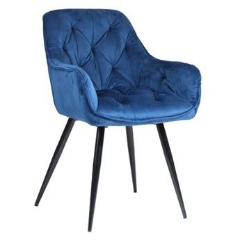 Pikowane welurowe krzesło z podłokietnikami AURORA granatowe z czarnymi nogami