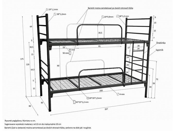 ŁÓŻKO METALOWE PIĘTROWE ROZKŁADANE 80x200 - BOSTON Łóżko piętrowe Liczba miejsc Dwuosobowe
